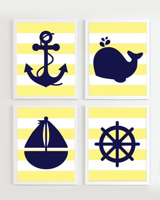 Nautical Nursery Navy Yellow Set Of 4 Beach Ocean Sea More Colors Available And