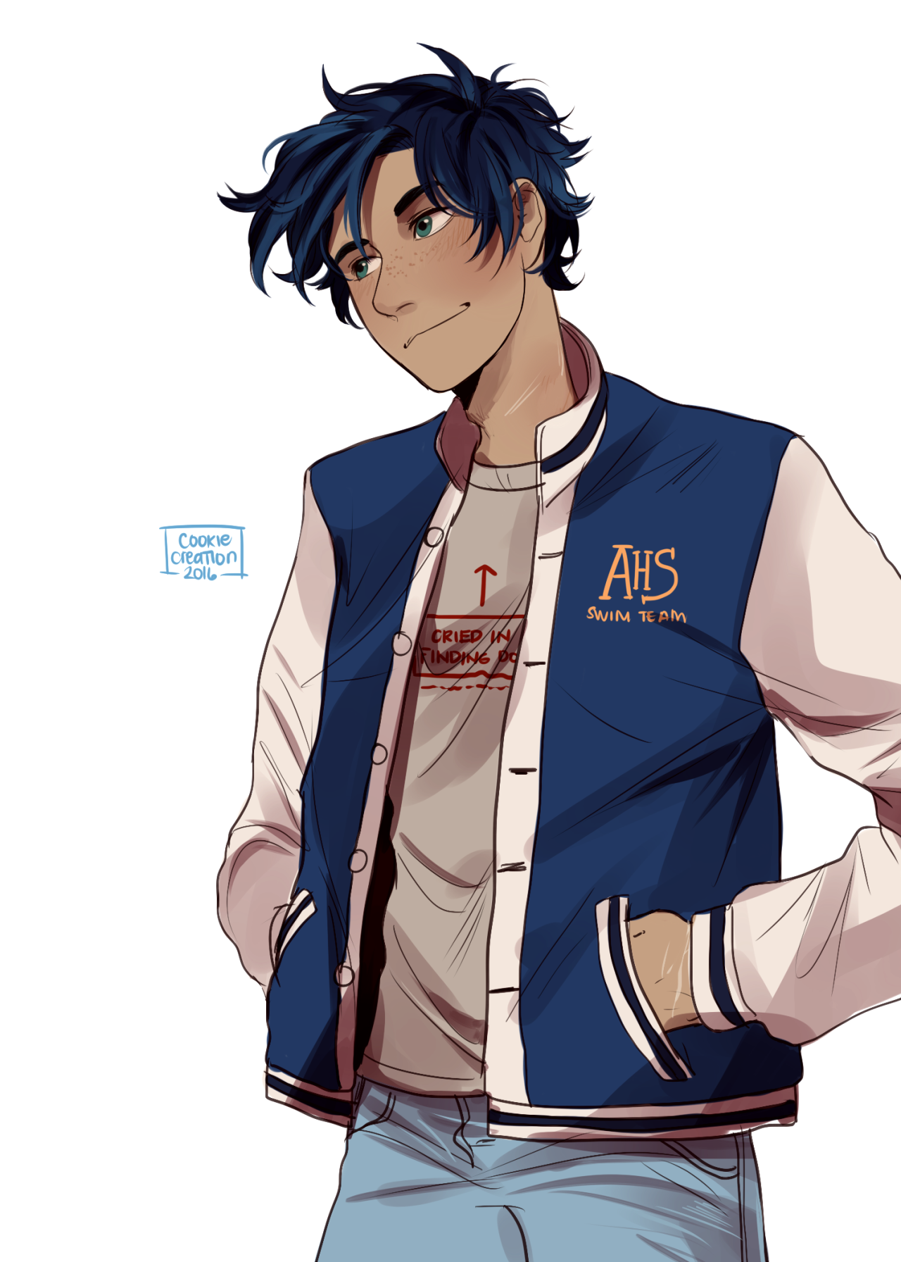 Image result for blue haired percy jackson