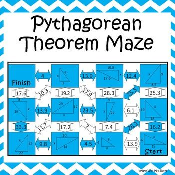 Pythagorean Theorem Worksheet Maze Activity Pythagorean Theorem Theorems 8th Grade Math