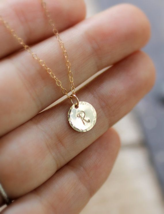 Tiny Gold Initial Necklace, Hammered Edge Circle, Custom Letter Necklace, Personalized Necklace, Mom Necklace, Simple, Dainty, gold fill