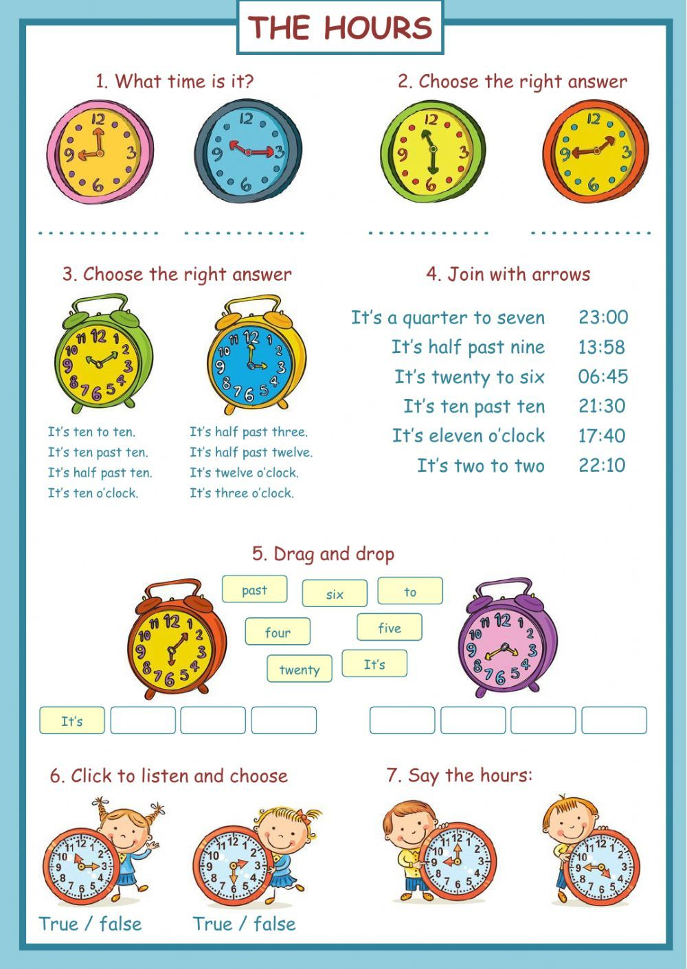 The Hours Interactive Worksheet Learning English For Kids Telling Time Time Worksheets