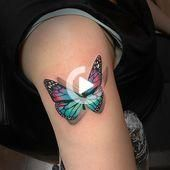 Photo of Multicolor Butterfly Tattoo on half sleeve: Butterfly Tatto … – Multicolor …