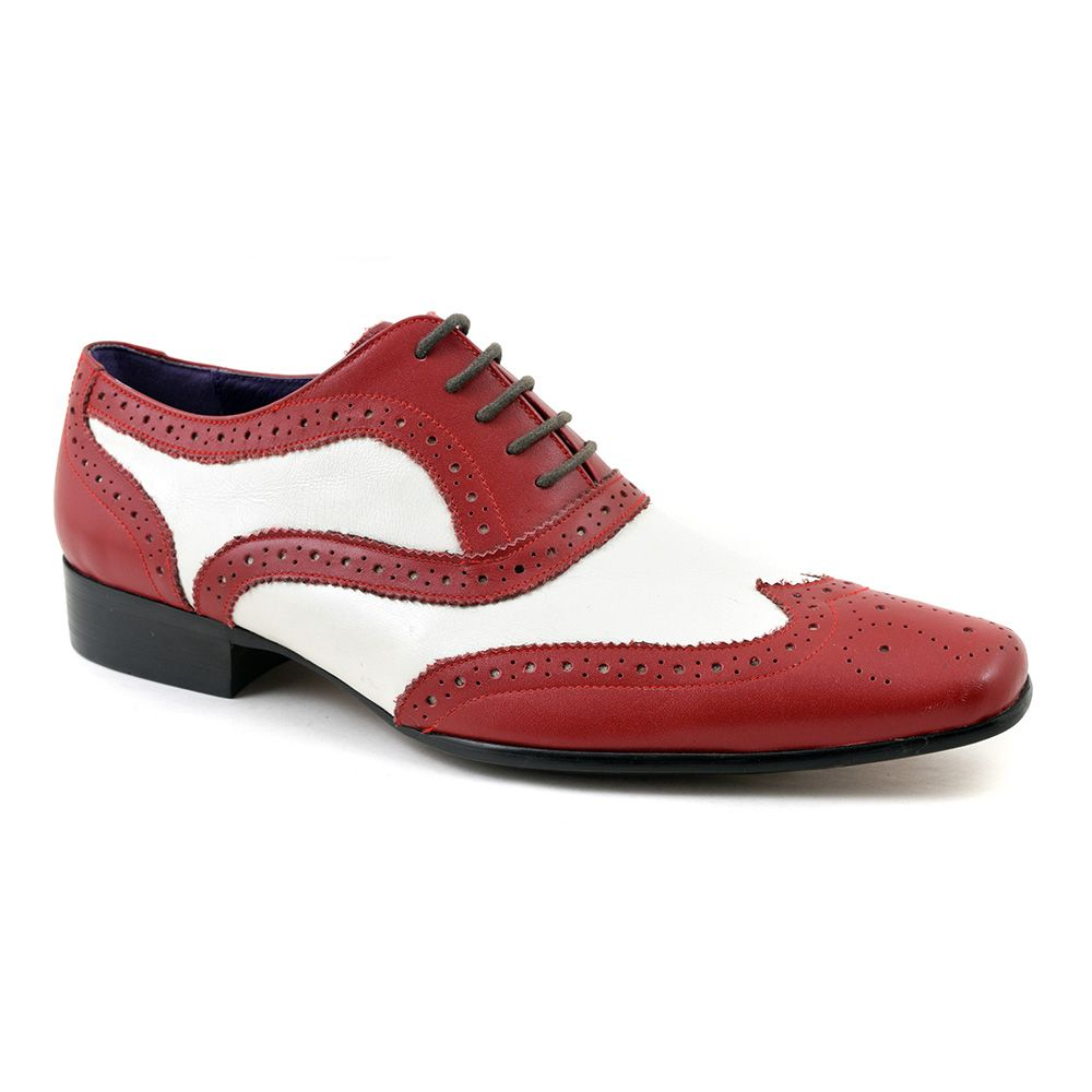 c7a057bba222a Funky red white oxford two tone brogue mens shoes. Show your individuality  in these jazzy mens shoes. £79.95