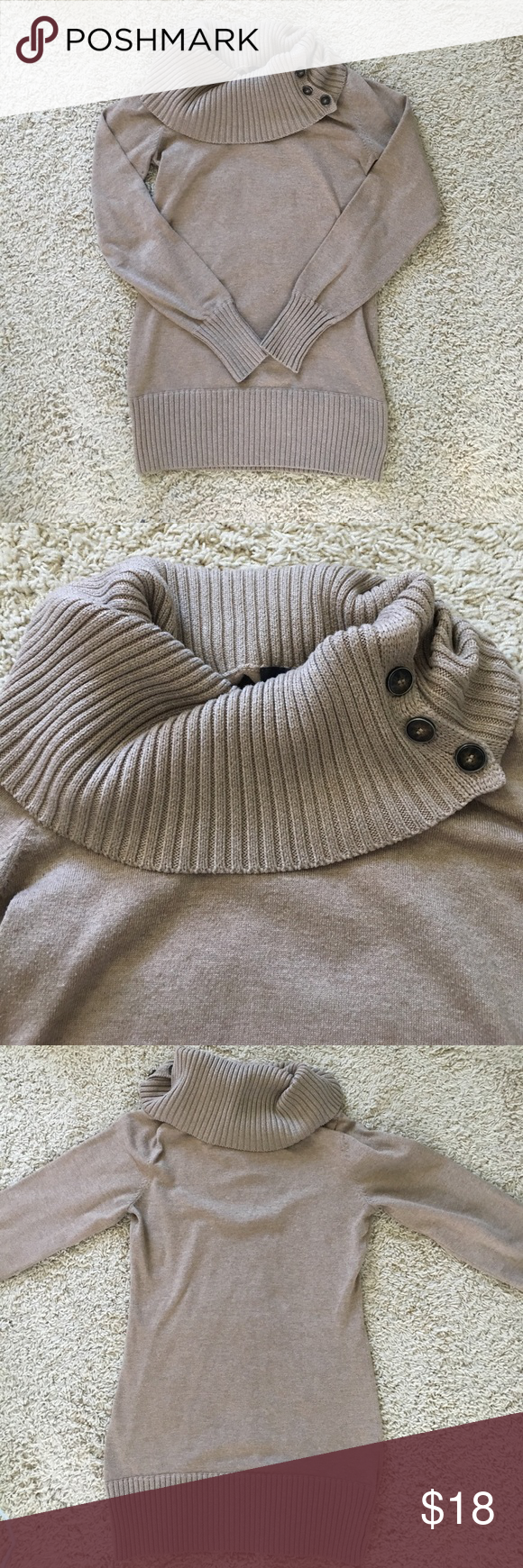 51a406a78e0e4 🔵Button Cowl neck sweater The limited tan sweater. Short dress/ long top.  Great with leggings, stockings or jeans. Like new condition!!!
