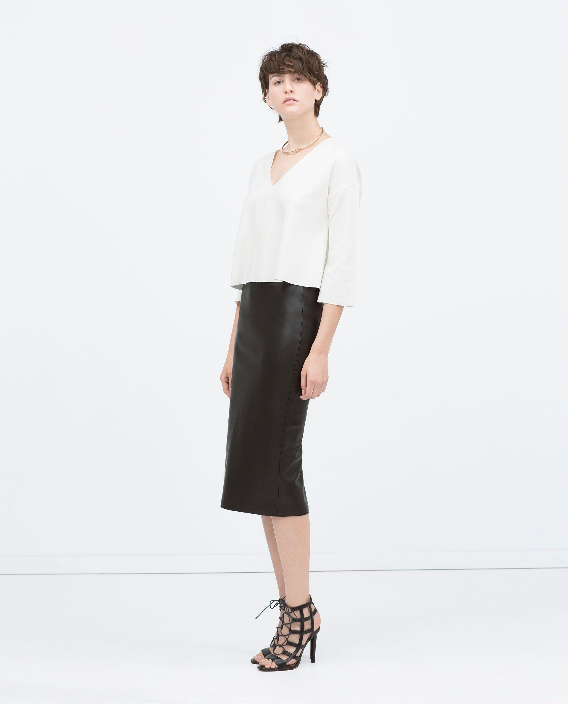 new style & luxury autumn shoes diversified latest designs ZARA - WOMAN - FAUX LEATHER MIDI PENCIL SKIRT | Fashion ...