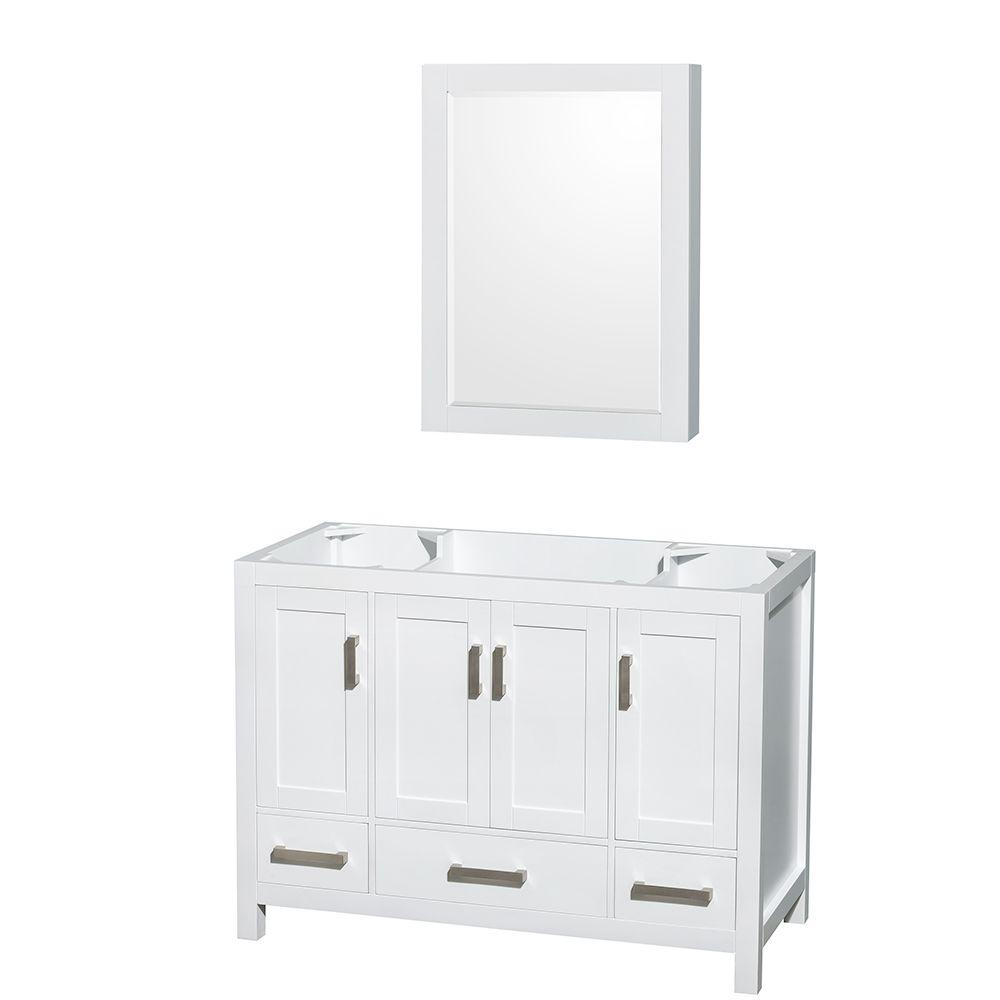Wyndham Collection Sheffield 48 in. Vanity Cabinet with Medicine Cabinet and Mirror in White