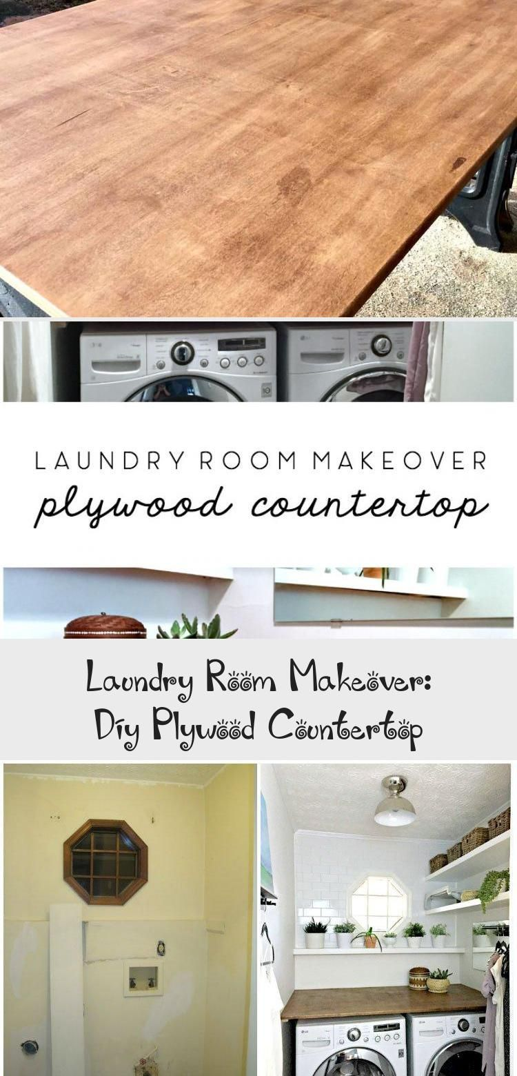 laundry room makeover diy plywood countertop #laundryroom #laundryroomRemodel #l...