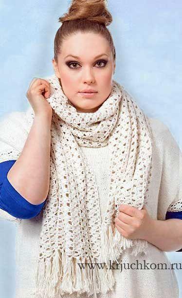 Яркий полосатый шарф вязание крючком. Блог настика.