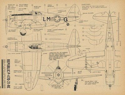 Republic P-47 Thunderbolt 4 View Drawing | planes ww2 | P 47 ...