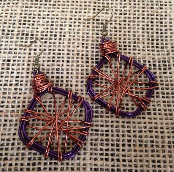 Purple and Copper Wire Hand Wrapped by PeacocksandLeopards on Etsy, $18.00
