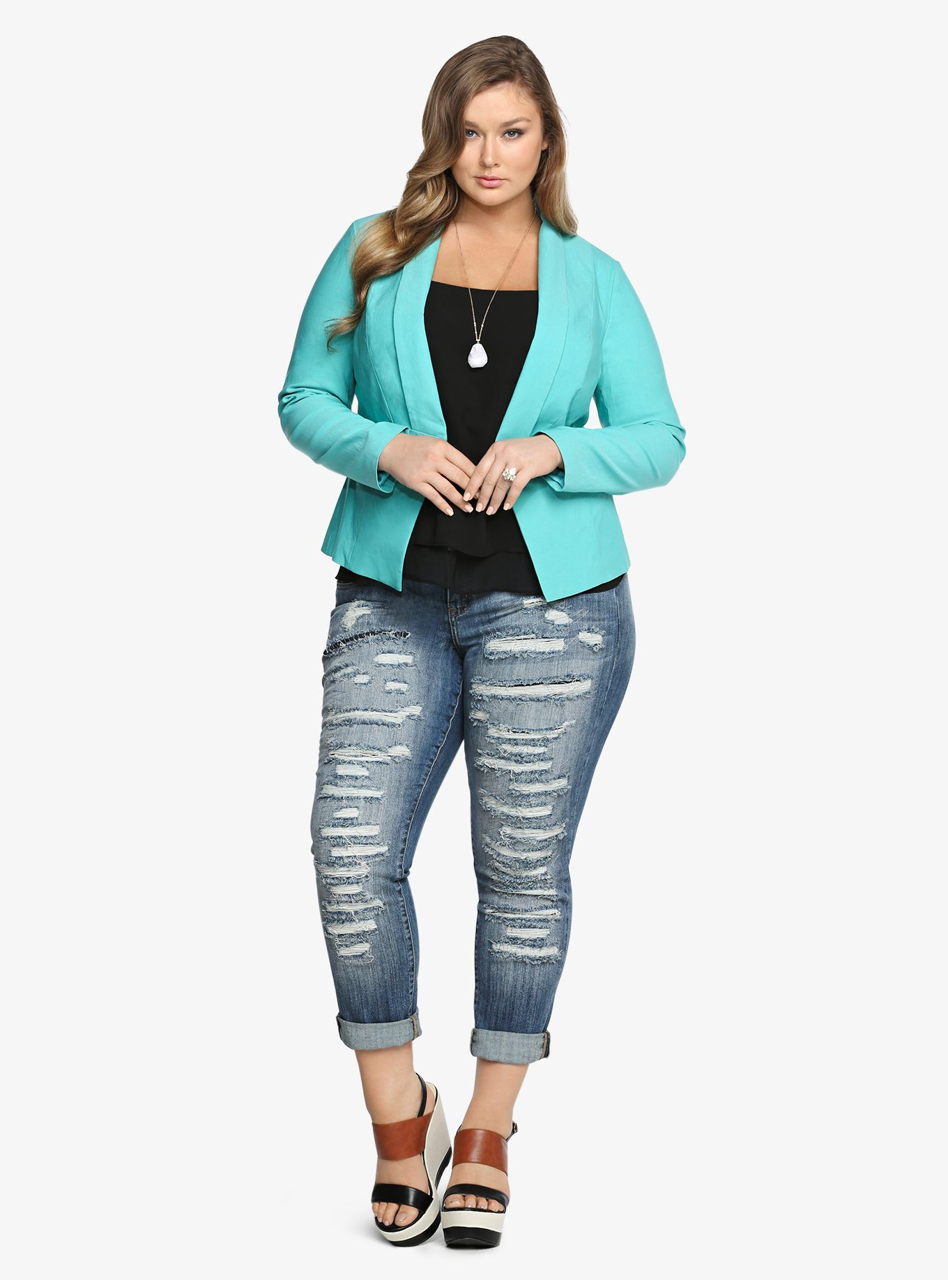 6351e4f70470 Color Pop! Plus Size Blazer #plussizefashion Mode För Kurviga Tjejer,  Jeansoutfits, Outfits
