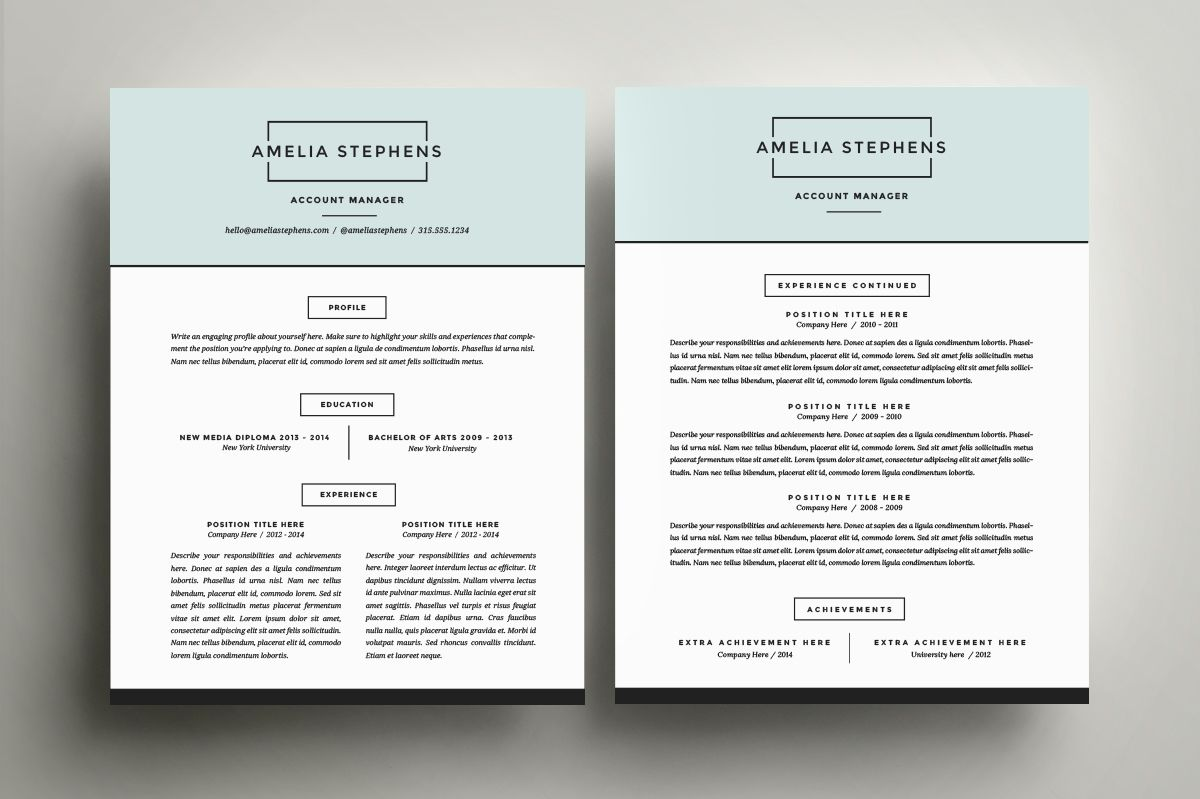 Resume Template 4 Pack CV Template by Refinery Resume Co