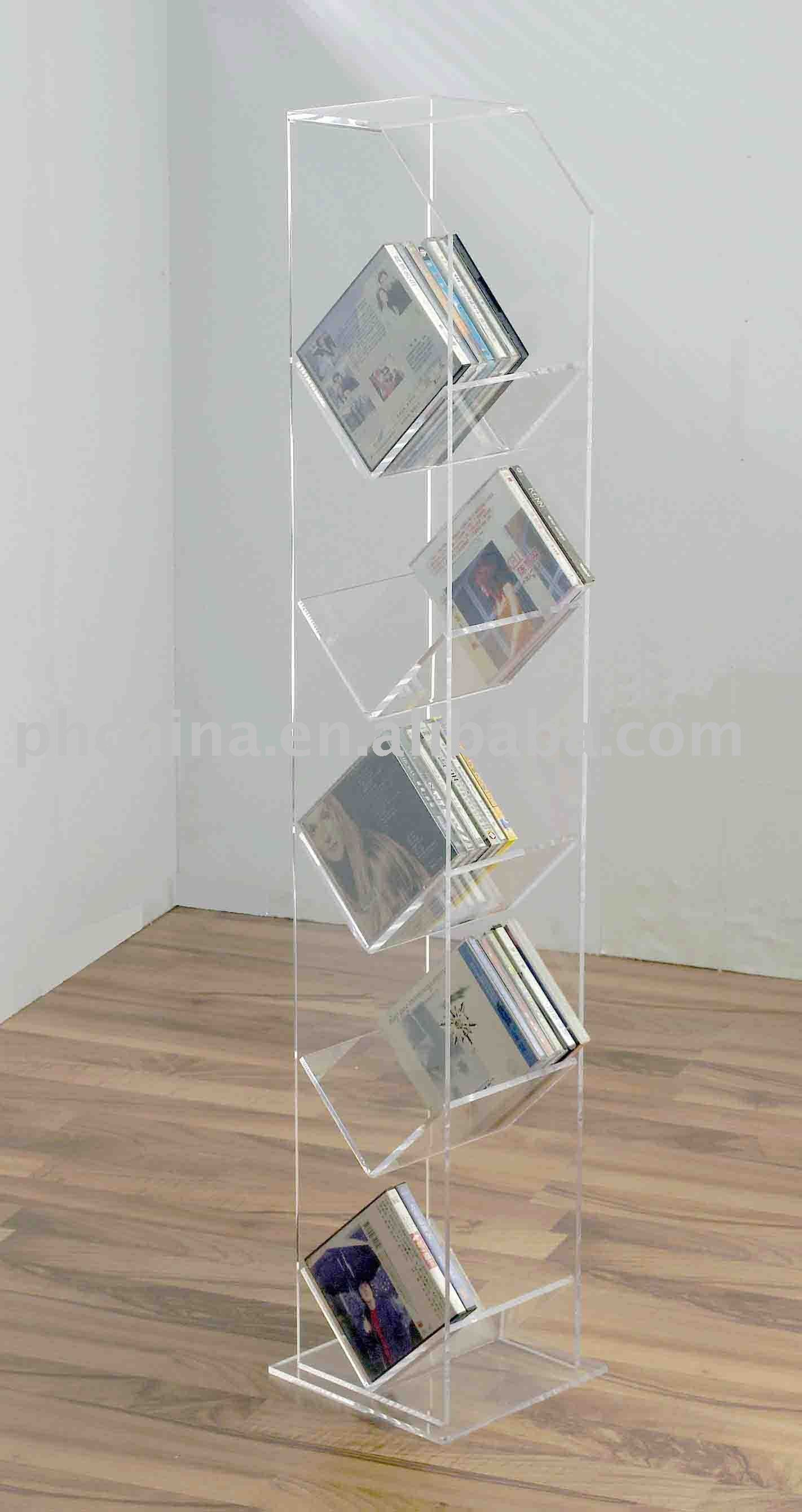 acrylic floor standing cd rack acrylic cd holder acrylic. Black Bedroom Furniture Sets. Home Design Ideas