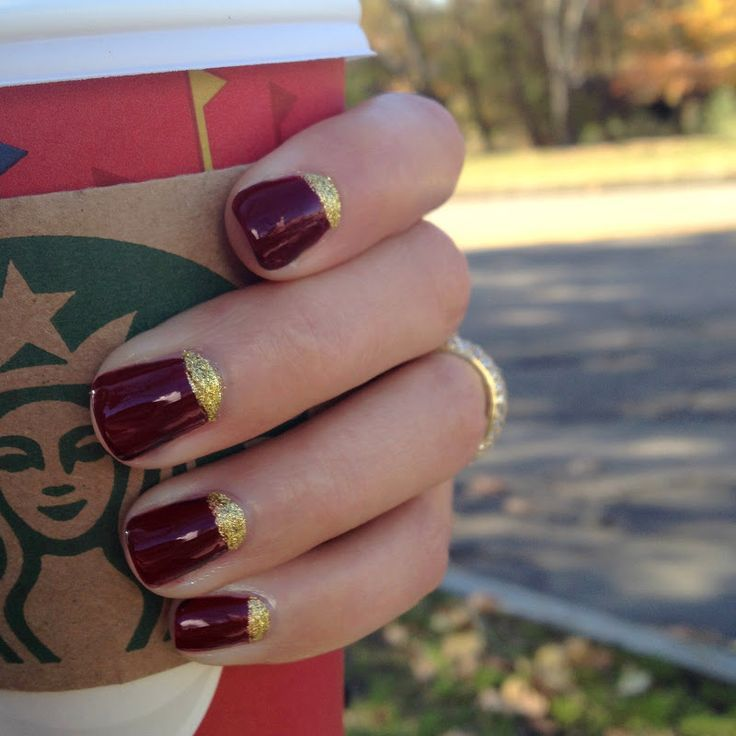 burgundy french nail designs
