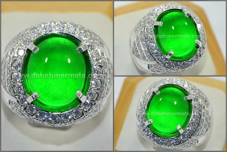 Exclusive Vivid Green Giok Fet Chui Burma Jd 044 Batu Permata Jade Ring Seni Batu