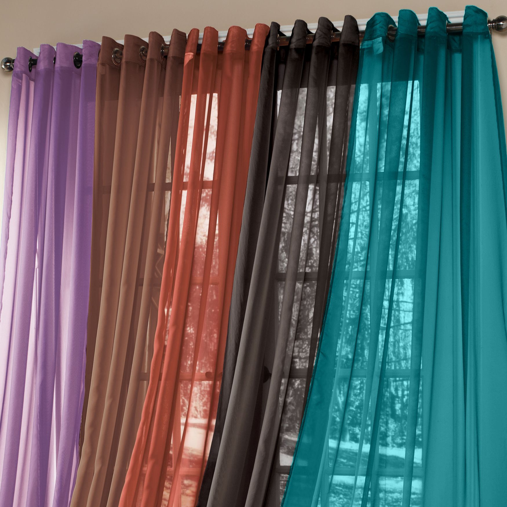 Brylanehomer studio sheer voile grommet panels curtains for Grommet curtains with sheers