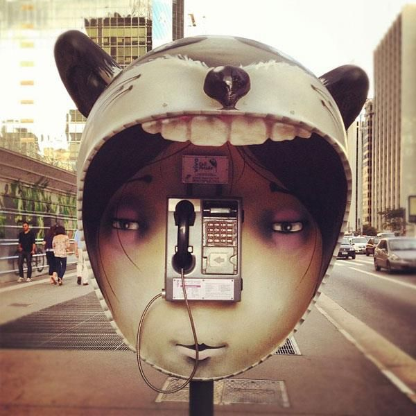 100 public telephone booths around Sao Paulo, transformed: http://www.juxtapoz.com/Street-Art/qcall-paradeq-in-san-paulo