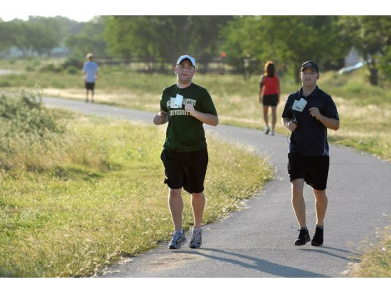 This Is The Worst Idea I Ve Had In My Life Said Kyle Van Syoc Center As He Runs Part Of A 1 2 Marathon Run To End Marathon Running Bachelor Party Running