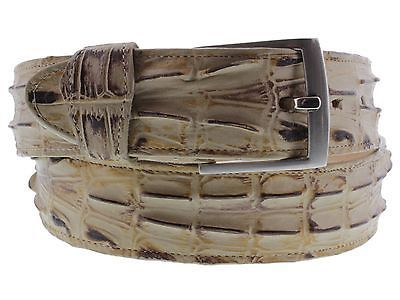 Men Crocodile Alligator Leather Red Belt Silver Buckle Western Cowboy Rodeo