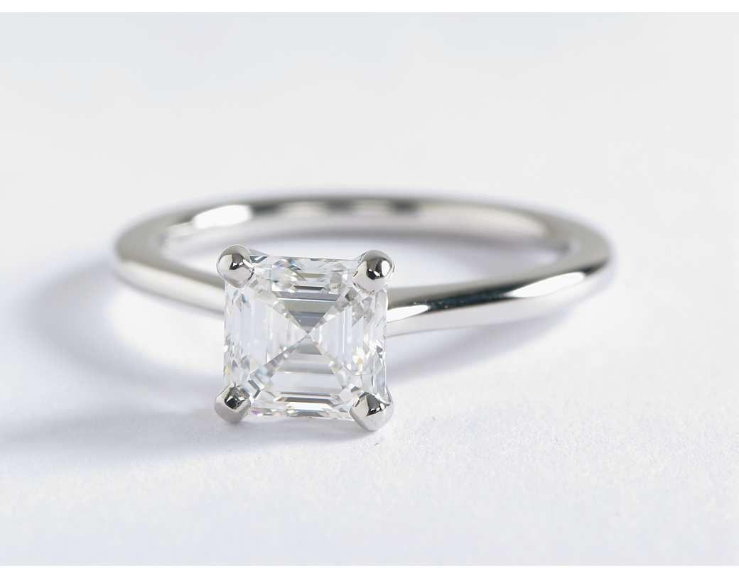 1.5 Carat Asscher Diamond Petite Nouveau Four Prong Solitaire Engagement Ring | Blue Nile Engagement Rings