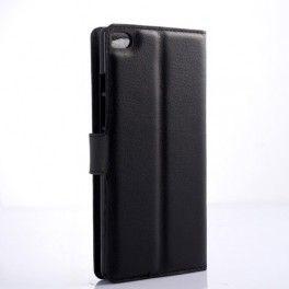 Huawei P8 Lite musta puhelinlompakko.