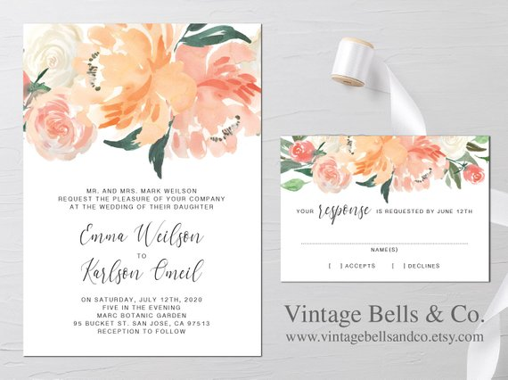 Wedding Invitation Elegant Coral Floral Invitation Peach