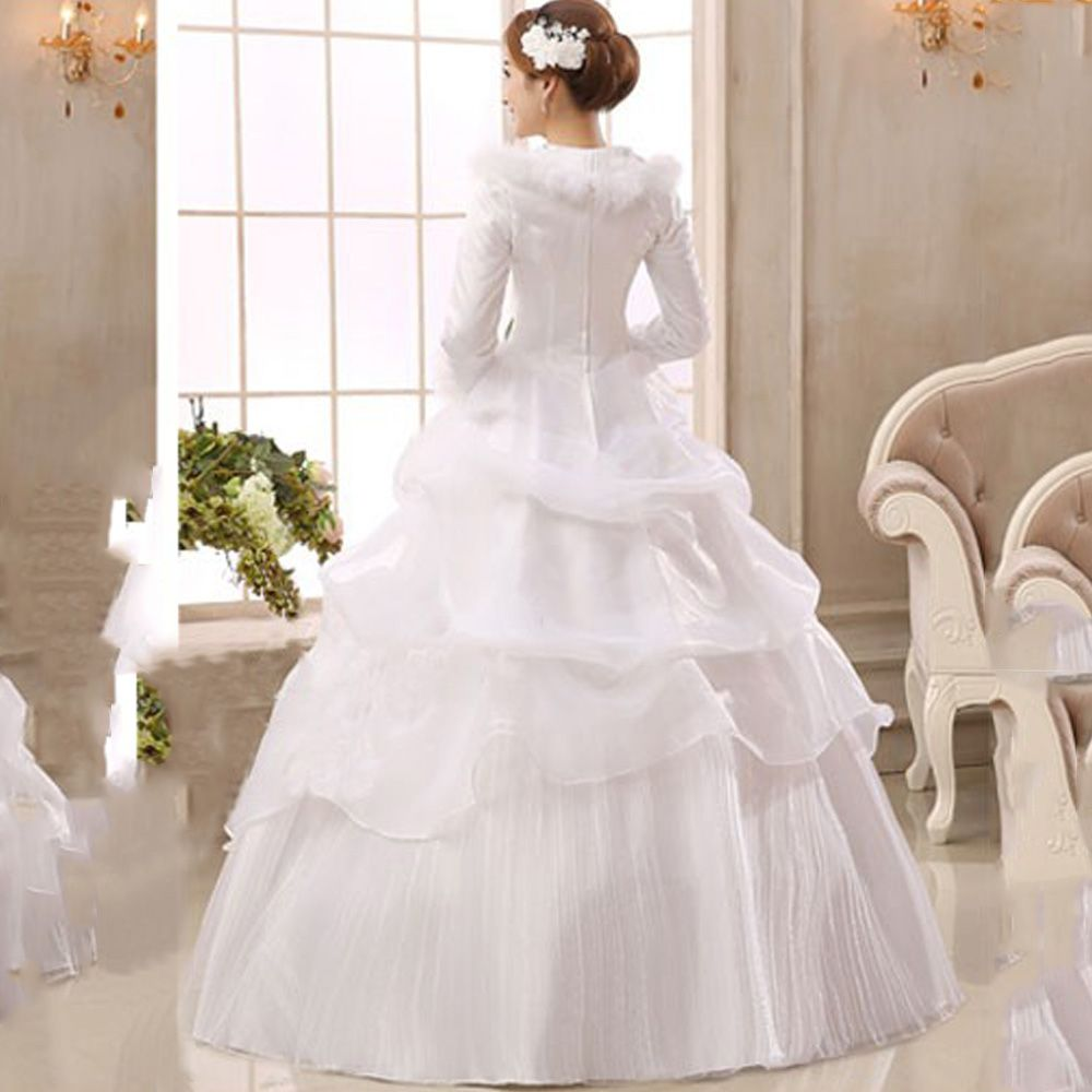 E JUE SHUNG White Organza Long Sleeves Cheap Wedding Dresses 2017 ...