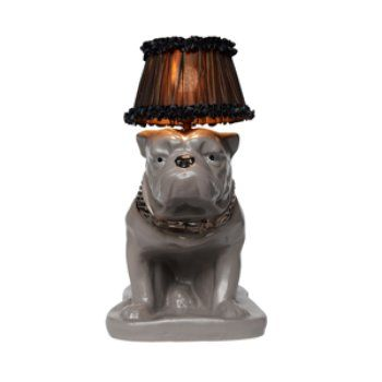 Bulldog Lamp We Get A Major Winston Churchill Vibe Perfectly Offset By The Gold Collar And Dainty Taffeta Shade From This Solid Lamp Animal Lamp Dog Lamp Lamp