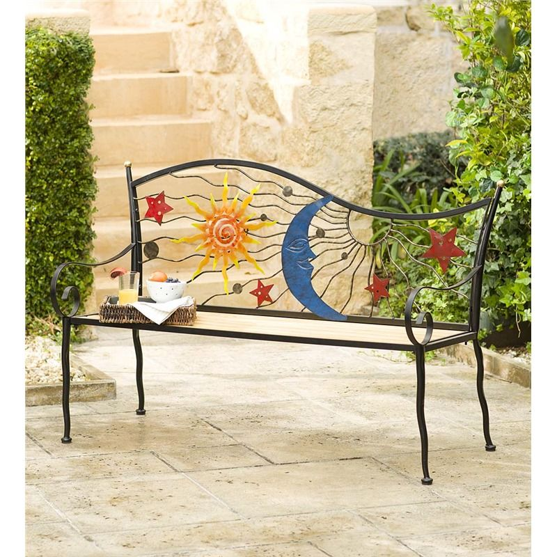 Stars Moon And Sun Wood And Metal Bench In Outdoor Furniture