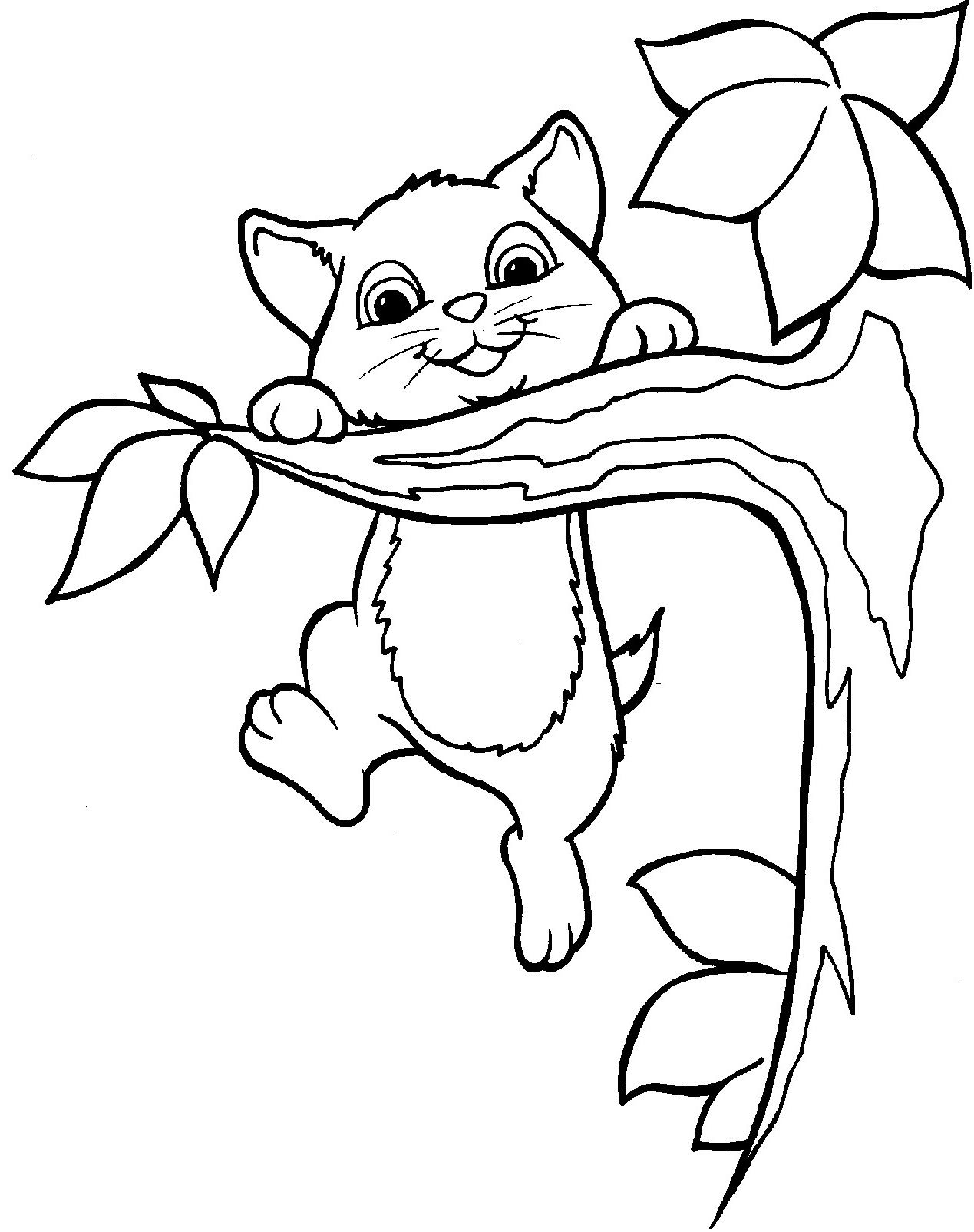 The Cat Climbed The Tree Coloring Pages Cat Coloring Page Tree Coloring Page Animal Coloring Pages
