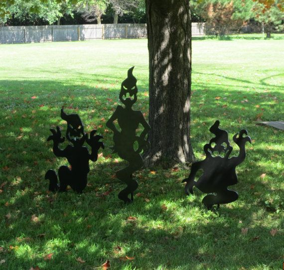 Halloween Rising Ghost Silhouettes, Wood Outdoor Yard Art