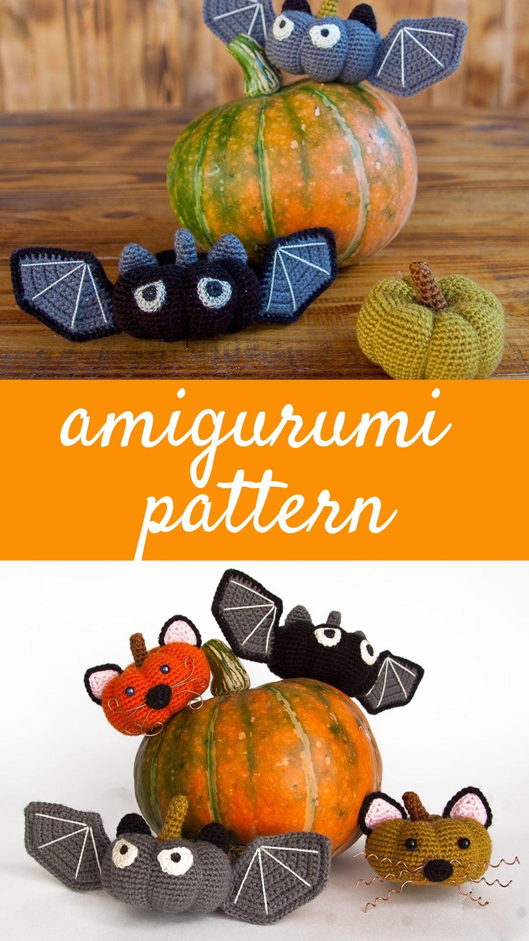 Halloween crochet bat /& Halloween orange pumpkin crochet pattern Crochet orange pumpkin pattern Cute bat amigurumi