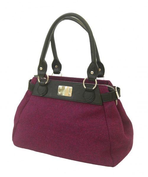 7349bb8e09bb Harris Tweed Purple color Handbag with black leather trims
