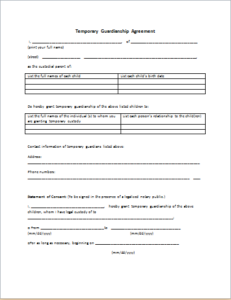 Temporary Guardianship Agreement Download At HttpWww