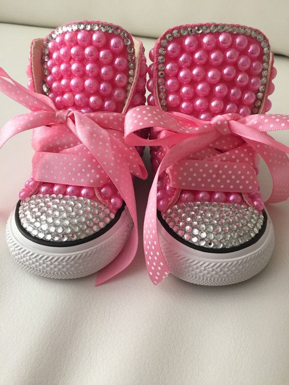 Baby  toddler size Converse designed with pearls and crystal accents. The  price includes shoes and design as shown in the photos. 00d6351d2
