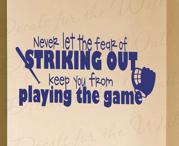 Never Let Fear Striking Out Baseball Boy Sports Themed Kid Room Playroom Wall Decal Decoration Vinyl