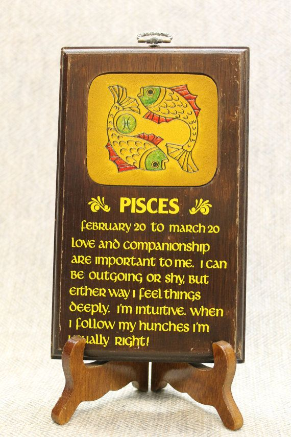 Pisces Vintage Wall Plaque Decoration February March Birthday ...
