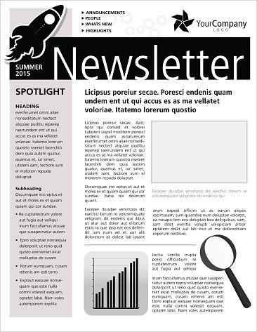 black and white company newsletter design flyer template ニュース