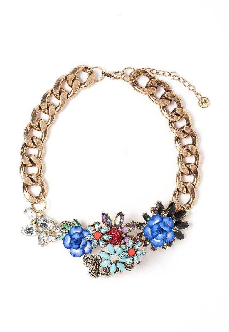 Fashion Days - Šperky plné luxusu a elegance - Náhrdelník zlaté barvy s  květinovými detaily 800ec7430ae
