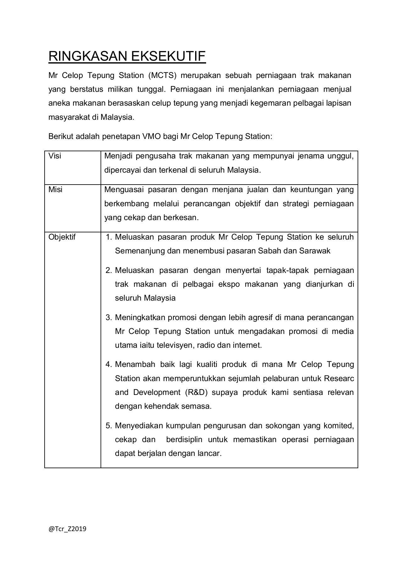 Contoh Susun Atur Rancangan Perniagaan Spm 2020