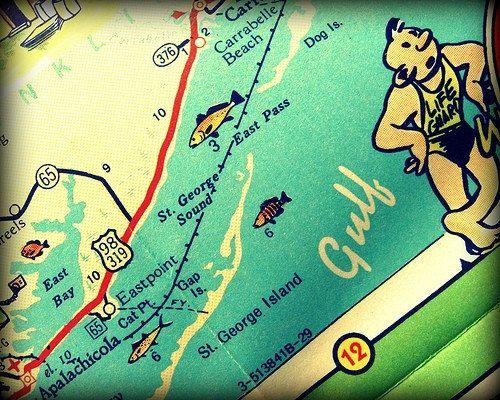 Saint George Florida Map.St George Island Map Art 11x14 16x20 Gulf Of Mexico St George Island