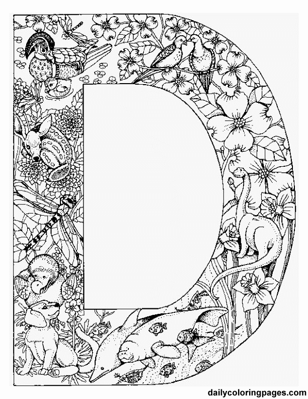 animal alphabet letters to print color or stitch