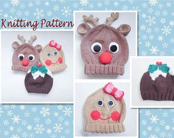 Knitting pattern christmas pudding gingerbread rudolph animal baby knitting pattern christmas pudding gingerbread rudolph animal baby beanie hats animal hat character hat novelty hat dt1010fo