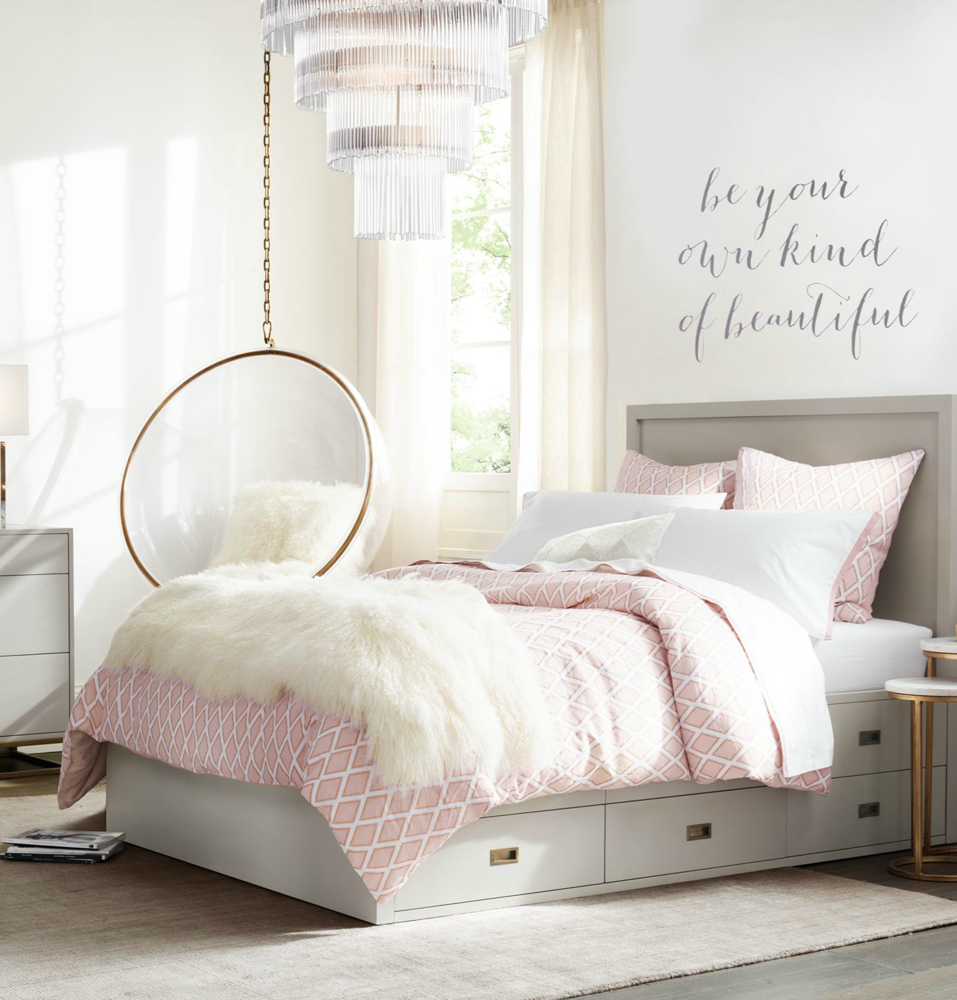 Sleek silhouettes add a contemporary touch to a classic - Modern teenage girl bedroom ...