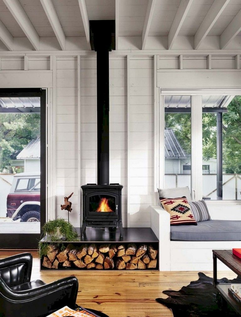 Wood Stove Living Room Design: 62+ Top Modern Farmhouse Living Room Decor Ideas
