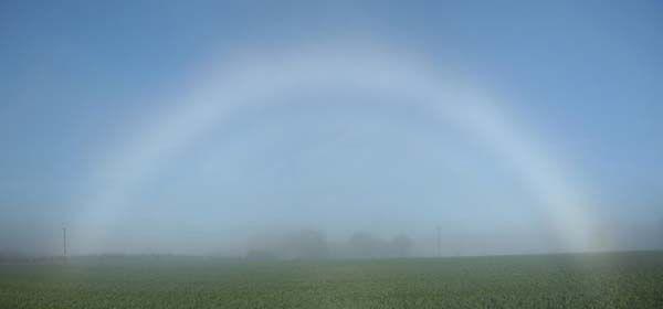 Weißer Regenbogen (Nebelbogen) Dieser Regenbogen bildet sich, wenn die Wassertröpfchen in der Luft etwa 0,02 mm groß sind. Dann wird das gesamte Lichtspektrum gebrochen, so dass eine gleichmäßige weiße Farbe (oder manchmal nur eine sehr weiche farbige Tönung) entsteht.