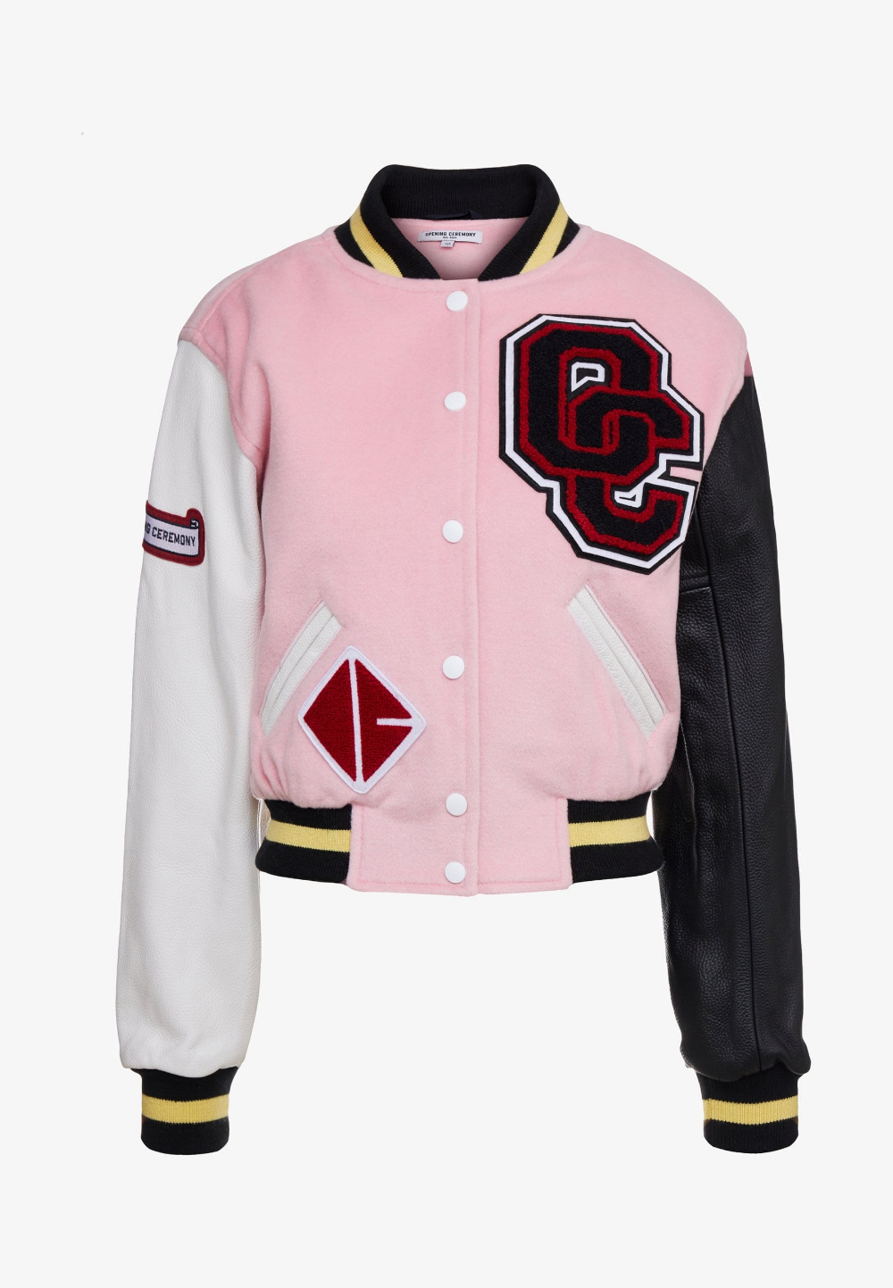SHRUNKEN VARSITY JACKET Leather jacket pink salt
