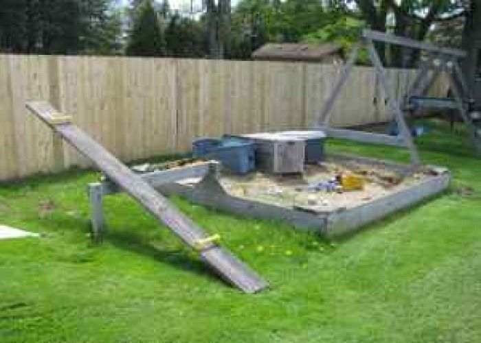 Wooden Swing Set With Sandbox And Teeter Totter 175 Bay City