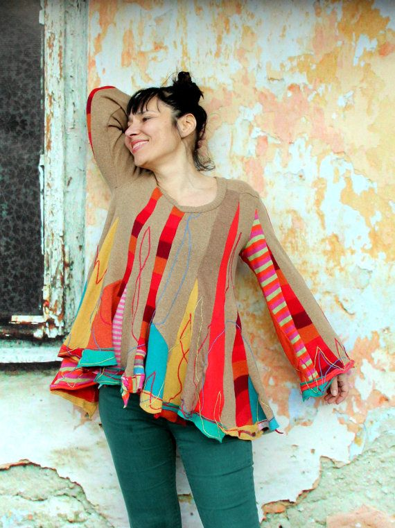 Crazy super patchwork appliqued recycled sweater tunic hippie boho ...