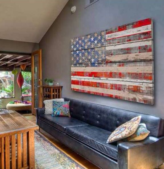 American Flag Wooden Sign For The Home Distressed Wood